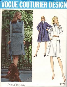1970s Misses Coat and Jumper  Vogue Couturier Design 2778 by Sybil Connolly