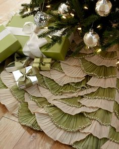 Natural/Sage Ruffled Christmas Tree Skirt - Horchow