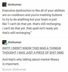 It's exactly like this. My brain has some time in mind when it's ready and I have no idea when that Adhd Brain, My Brain, The More You Know, Good To Know, Mental Disorders, Mental Health Awareness, Mental Illness, Angst, Things To Know