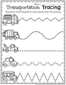 January Preschool Worksheets - Transportation Tracing.