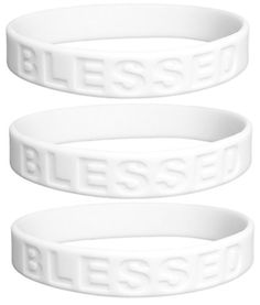 3 Pack - BLESSED Bracelets Silicone Wristbands Religious Christmas Cards, Religious Gifts, Religious Jewelry, Stretch Bracelets, Beaded Bracelets, Christian Bracelets, Bracelets With Meaning, Silicone Rubber, Keep It Cleaner