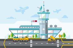 Airport Flat Vector Illustration by Kit8.net on Creative Market