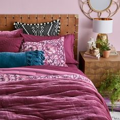 KESS InHouse Pom Graphic Design Eclectic Peach Teal King Cal King Comforter 104 X 88
