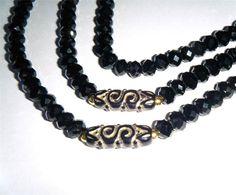 """Black & gold bead necklace, sparkling jet black crystals 37.1/2"""" long (95cm)"""