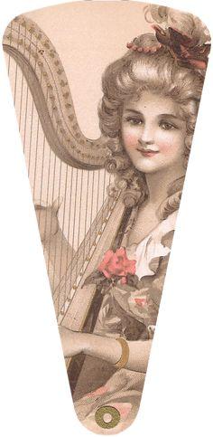 Wings of Whimsy: 1906 May Bowley Old Style Music Ladies Fan #vintage #ephemera #freebie #printable #fan