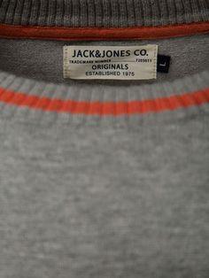 Okay Knit O-Neck, LIGHT GREY MELANGE BA 10B Label Tag, Jack Jones, Typography, Graphic Design, Logo, The Originals, Knitting, Grey, Style