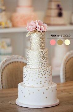 gold polka-dot cake