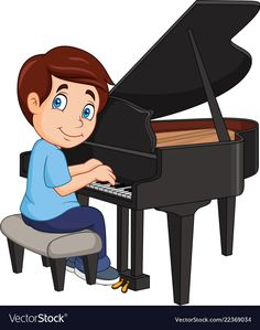 Illustration about Vector illustration of Cartoon little boy playing piano. Illustration of little, classic, cute - 128300706