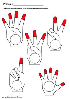 Teach children to count with their fingers. Print the paper; then have them write the number of fingers that are pointing and are red. They should write them in the circle on the drawing of the hand. Learning Numbers Preschool, Preschool Writing, Preschool Worksheets, Kindergarten Math, Math Resources, Teaching Math, Kids Learning, Montessori Activities, Preschool Activities