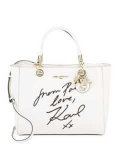 Karl Lagerfeld Miranda Script Leather Top Handle Karllagerfeld Bags Shoulder