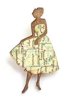 Chic Silhouette Map Pin by Yes & Yes Designs: Oakland-California-based designer Laura Bruland creates her handcrafted, laser-cut pieces from recycled books, Vintage Pins, Retro Vintage, Vintage Woman, Map Crafts, Geek Crafts, Origami, Recycled Books, Laser Cut Jewelry, Silhouette Art