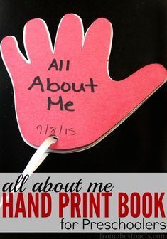 All About Me Hand Print Book for Preschoolers
