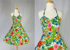 Vintage 1960's Pin-up Halter Sun Dress Beautiful by madvintage