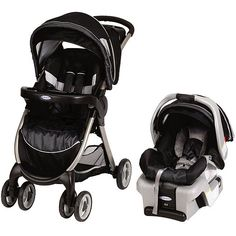 FastAction Fold Travel System in Metropolis by Graco. We both LOVED this stroller/car seat combo when we tested them out in the store, plus the non-gender specific color scheme and lack of pattern were super appealing to me!