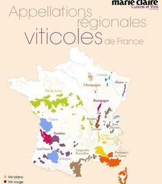La carte des appelations régionales viticoles de France