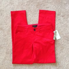 """NWT Mango Basics red pencil leg trouser pants 4 NWT Mango Basics red pencil leg trousers. US size 6 / EUR size 38. I wear size 27 or 4 in jeans and these fit. I had them altered to my height (5'4""""), they have a 30"""" inseam. 97% cotton, 3% elastane, super soft and comfortable! Great statement piece. Mango Jeans"""