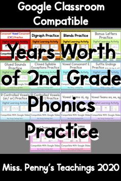 Visit my teachers pay teachers store to get this year long bundle of second grade phonics practice lessons and interactive activities. Learning Resources, Teacher Resources, School Resources, Phonics Activities, Interactive Activities, 3rd Grade Classroom, Google Classroom, Second Grade, Elementary Teaching