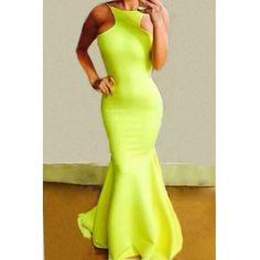 Green Neon Sleeveless Backless Mermaid Maxi Dress w/ruffle $20 @ LovelyWholesale