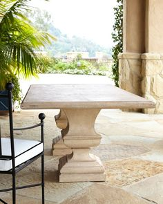 Alexandra Outdoor Double-Urn Pedestal Table