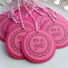 Its a Girl Baby Shower Tags - Set of 25 - READY TO SHIP - Baby Girl Shower Favor Tags. $18.00, via Etsy.