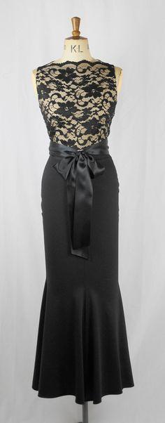 Baylis & Knight Black Nude Lace SLEEVELESS Slash  FISHTAIL Boat Neck Princess Kate Middleton Wiggle Maxi Long Dress Dita Burlesque