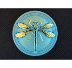 Cabochon Blue-Green with Gold Dragonfly