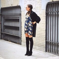 Dress layered with big slouchy cardigans always make an adorable outfit
