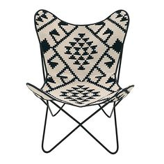 FABRIC CHAIR IN BLACK AND WHITE COLOR 75X87X86 - Chairs - FURNITURE