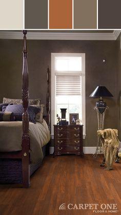 Laminate Flooring Bedroom Designed By Carpet One Floor & Home via Stylyze Carpet Flooring, Laminate Flooring, Flooring Ideas, Room Wall Colors, Beautiful Homes, House Beautiful, Traditional Bedroom, Bedroom Flooring, Floors