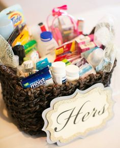 Pamper your guests with a basket full of essentials for the wedding reception restrooms! Love these tips by @karlynbeth!   http://www.weddingpartyapp.com/blog/2014/08/25/pamper-wedding-guests-diy-bathroom-essentials-basket/