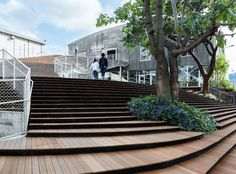 TOKYO | La Kagu by Kengo Kuma - stairs and shop in old warehouse