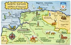 Travel and Trip infographic Travel infographic - Postcard map of North Devon and part of Somerset Infographic Description Travel infographic Postcard map Map Of North Devon, Devon Map, Vintage Maps, Vintage Travel Posters, My Travel Map, Travel Uk, Travel Trip, Villages In Uk, Bristol Channel