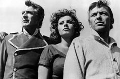 Cary Grant, left, Sophia Loren and Frank Sinatra, right, in Stanley Kramer's 1957 release The Pride and the Passion.