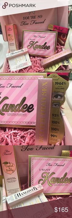 🍑Too Faced Kandee Makeup Collection BN 💯% Authentic Too Faced Makeup Collection. Included is: I want Kandee Limited Edition Candy-Scented Eye Shadow Palette, Better Than Sex Mascara, Primed & Peachy Cooling Matte Perfecting Primer, travel size Hangover RX replenishing Primer and a Deluxe sized Melted Liquified Matte Ling Wear Lipstick in Its Happening. All brand new, never opened as you can tell from the pictures. 💥No Trades💥Please remember Posh takes 20% off the sells. Sephora Makeup…