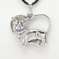 """Sterling Silver Cardigan Welsh Corgi Pendant w/ Sterling 18"""" Chain by Donna Pizarro fr her Animal Whimsey Collection of Dog Jewelry"""