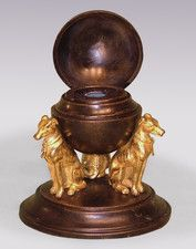 An unusual early 19th Century Regency period bronze and ormolu Inkwell - OnlineGalleries.com