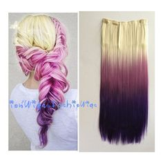 White Blonde to Purple Three Colors Ombre Hair Extension Synthetic... ($12) ❤ liked on Polyvore featuring beauty products, haircare, hair styling tools, bath & beauty, hair care, hair extensions and silver