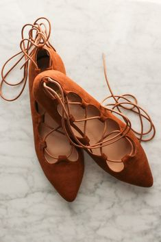 Pirouette Lace Up Flats - Camel #accessory #affordable-shoes #ankle-tie