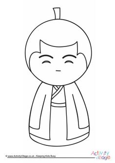 Kokeshi Doll Colour Pop Colouring Page 3