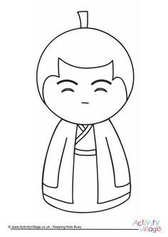 Kokeshi Doll Colouring Page 2