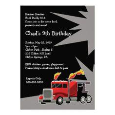 SEMI TRUCK Hot Rod Boys Birthday Invitation 3rd Birthday Parties 3ff1fe040db6