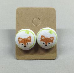 5/8 Size 24 Green/Orange-Brown Fox Fabric Covered by RatDogInk