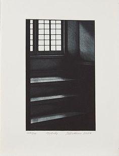 Jukka Vänttinen: Motväg, 2004,  mezzotint, 35x26 cm, edition 268/295 - Stockholms Auktionsverk 5/2016 Illustration Art, Illustrations, Emboss, Finland, Stairs, Sculpture, Prints, Painting, Stairway