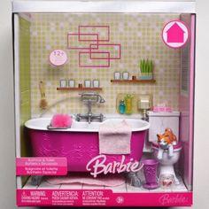 Barbie bathroom bathtub toilet cat fish sponge Home playset 2006 NIB Barbie Chelsea Doll, Barbie Dolls Diy, Barbie Fashionista Dolls, Diy Barbie Clothes, Barbie Doll House, Barbie Dream House, Diy Doll, Barbie Stuff, Barbie Bathroom
