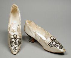 Pair of Woman's Slippers | LACMA Collections Meier (France, Paris) France, Paris, circa 1890 Costumes; Accessories Silk satin, metal sequins, cut steel beads, leather, metallic lamé 10 x 2 15/16 x 3 3/4 in. (25.4 x 7.46 x 9.52 cm) each