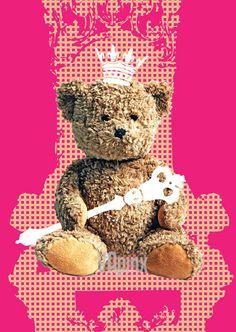 Nursery art printTeddy Bear as a king on the throne pink by VApinx, $19.00