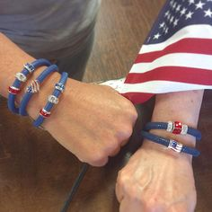 We are obsessed with this patriotic Brighton customer! She perfectly creates a 4th of July look by pairing our Woodstock leather bracelet with our I Heart USA bead, our Hearts & Stripes bead, and some of our red, white and blue spacers! #MyBrighton #BrightonJewelry #BrightonCharms
