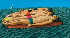 Michael Smither Boys On The Beach 1976 Oil & enamel on board