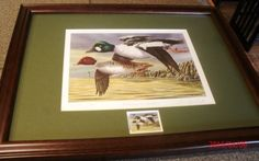 Goldeneyes-at-Sundown-duck-print-and-stamp-by-Christopher-Smith-S-N