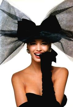 Bill King for American Vogue, October 1986. Model: Christy Turlington, bow by Chanel.